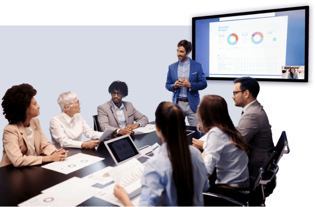 Professionals in large conference room